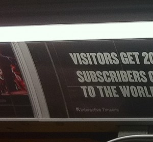 interactiveTimeline from NY times ad in NYC subway